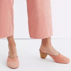 Madewell Miya Suede Mules Old Rose Pink 5 Wooden